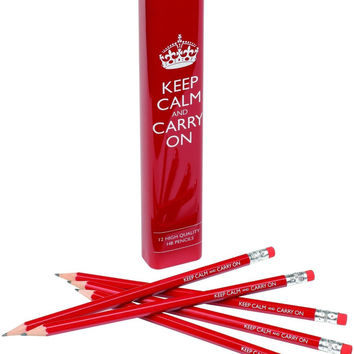Keep Calm and Carry On Wooden Pencils with Tin