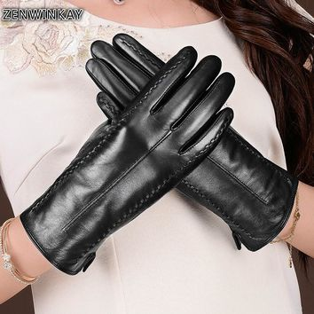 2017 Women Leather Gloves Touch Screen Genuine Leather Ladies Gloves Touchscreen Fashion Women Winter Gloves 3 Colors
