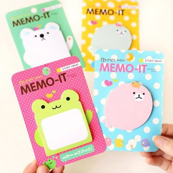 H14 Kawaii Cute Frog Animals Decorative Memo Pads Sticky Notes Planner Writing Message Sticker Student Stationery