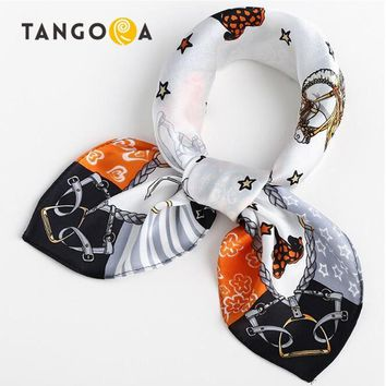 Small Square Natural Mulberry Women Silk Scarves Luxury Brand Carriage Chain Horse Woman Neck Scarf for Bags Bandana Hijab