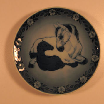 1984 Decorative Plate, Royal Copenhagen, Mare and Foal, Vintage Blue and White
