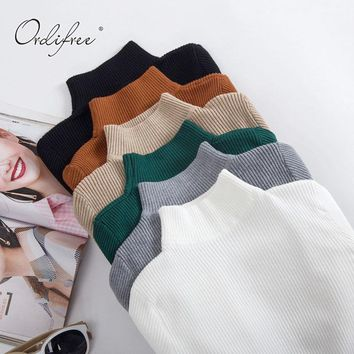 Ordifree Pull Femme Winter Cashmere Women Sweater Knitted Pullover Christmas Jumper Warm Female Turtleneck Sweater
