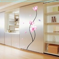 Pink Flower Stem - Easy Removable Wall Decor Sticker Wall Decal - Pink Flower stem Room decor