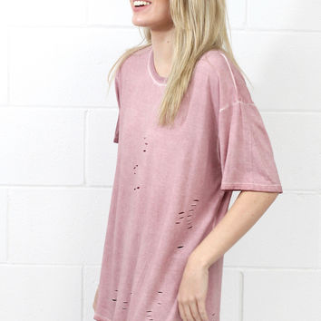 Mineral Washed Tee with Hole Distressing {Blush}
