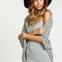 BLACK CABLE KNIT DOLMAN CARDIGAN
