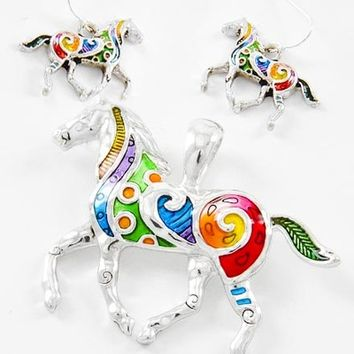 Multi color Horse Pendent and Earring set from Irenes Finds Jewelry