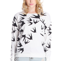 Swallow Print White Sweatshirt
