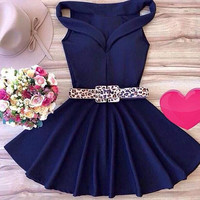 Blue Pleated Party Dress