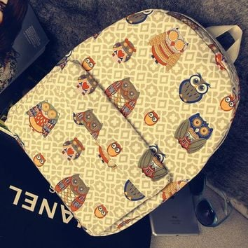 CREYUG3 Casual Owl Korean Canvas Cats Backpack = 4887409156