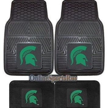 Michigan State Spartans Car Truck Mats 4 Pc Front & Rear Heavy Duty Vinyl