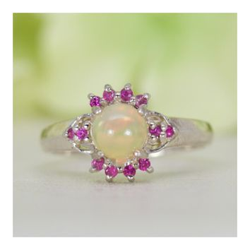 Natural Welo Ethiopian Opal and Natural Ruby Ring in Sterling Silver