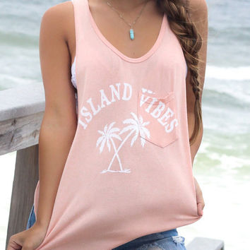 Korean Pink U-neck Sleeveless Letters Treee Printed  Vest Tank T-shirt