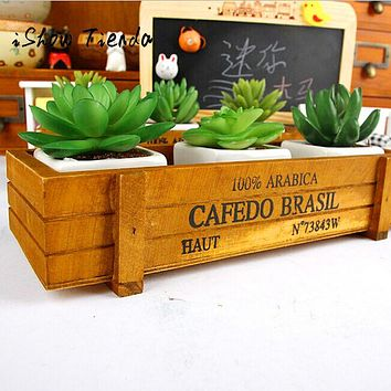 Vintage Wooden Boxes Crates Flower Pot Kitchen Trinket Desktop Storage Case Maceta De Madera #GH