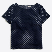 Printed linen-cotton T-shirt