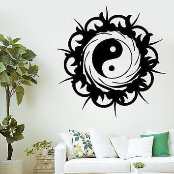 Wall Decal Buddha Yin Yang On Sun Burst Ornament Vinyl Sticker (z2885)