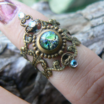 fire opal midi ring armor ring elfin cosplay claw ring Emerald Sea Green Fire Opal