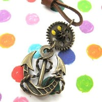 Antique Anchor Steampunk Pendant Necklace in Bronze   DOTOLY