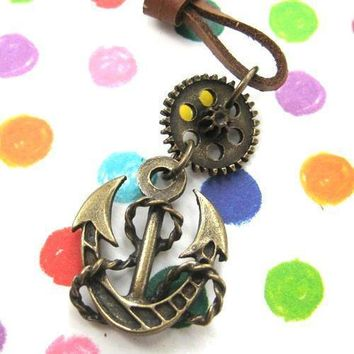 Antique Anchor Steampunk Pendant Necklace in Bronze | DOTOLY