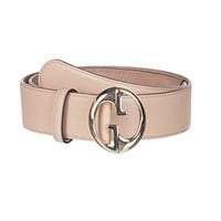 Gucci Women's Light Brown Leather Interlocking GG Buckle Belt