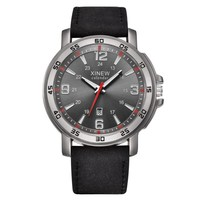 XINEW Men's Faux Leather Watches Luxury Stainless Steel Analog Quartz Watch Men Top Brand Military Army Watches Male Clock #LH