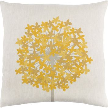 Agapanthus Throw Pillow Neutral, Yellow