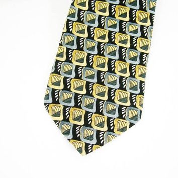 "Jerry Garcia Necktie, 100 Percent Silk ""Butterfly Trap"" Collection 14, Made in USA, Black Gray Tan Gold White, Grateful Dead, Gift for Him"