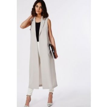 Missguided - Maxi Sleeveless Duster Coat Grey