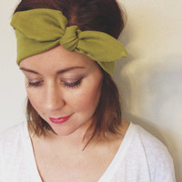Tie Up Olive Green Woman's Summer Hair Accessories Headband