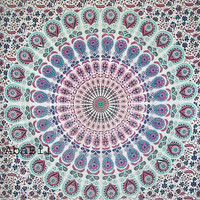 Indian Twin Flowers Printed colorful Indian Mandala Hippie Throw Cotton Bedspread tapestry  Bedcover Coverlet Home Decorative Art