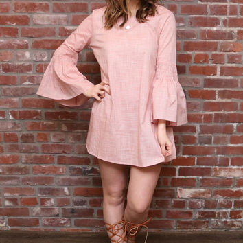Coral/Orange A Line Bell Sleeve Dress