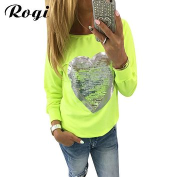Rogi Women Long Sleeve Sequined Printed Blouse 2017 Brand Fashion Streetwear Tunic Shirt Boho Tops Blusas Camisetas Mujer Verano