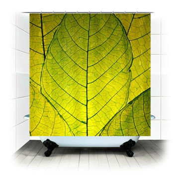 Go Green - Fabric Shower Curtain  - Photography, bathroom, home, decor, bathtub, leaves, leaf, woodland, zen, shower curtain