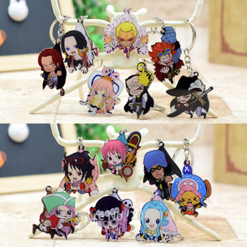One Piece acrylic Keychain Pendant Car Key Chain Key Accessories Cute Japanese Cartoon Collections 15 Styles HZW017 LTX1