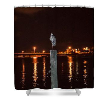 Blue Heron Night - Shower Curtain