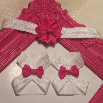 Dark Pink On White Satin Flower And Bows Headband and Barefoot Sandal Set!