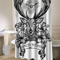 Expecto Patronum Deathly Hallows Harry Potter shower curtain customized design for home decor