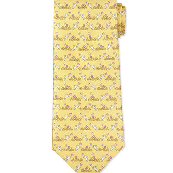Bunny-Print Silk Tie, Yellow, Size: 3, YELLOW - Salvatore Ferragamo