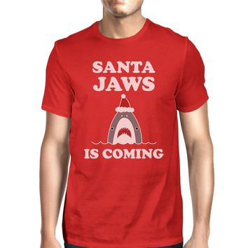 Santa Jaws Is Coming Mens Red Shirt