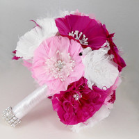 Pink Wedding Bouquet, Bridal Bouquet, Feather Bouquet, Brooch Bouquet, White, Fuschia, Cotton Candy Pink
