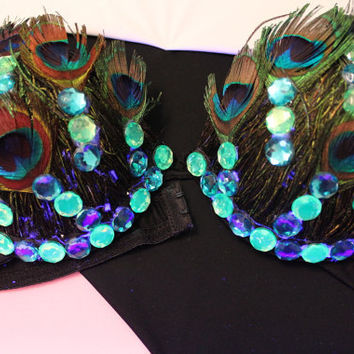 PLUS SIZE Sexy Peacock Bra decorated with peacock feathers, rhinestones for go go club dance showgirl burlesque festival carnival