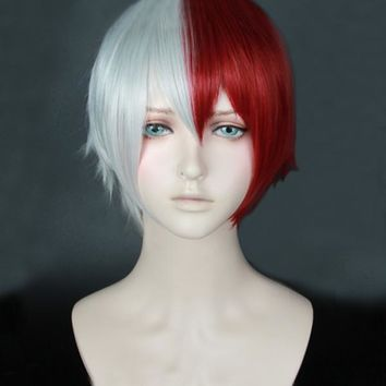 Boku no Hiro Akademia My Hero Academia Shoto Todoroki Shouto Silvery White And Red Cosplay Wig + Track + Cap
