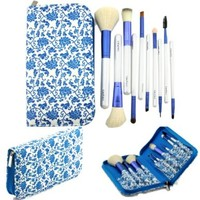 Bao Xin Professional Makeup Brush Set with High Quality Leather Pouch, Set of 21 Brown Brushes & Cosmetic Bag