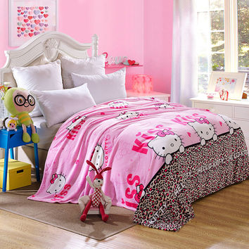 Hello Kitty Cartoon Fleece Blankets Leopard Warm Throw Blankets Children Kids Blanket on the Bed/Sofa/Travel Soft Brand Blanket