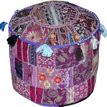 Purple Bohemian Vintage Patchwork Indian Pouf Large Round Ottoman Seat Stool Embroidered Pouffe round cotton stool chair bench foot stool
