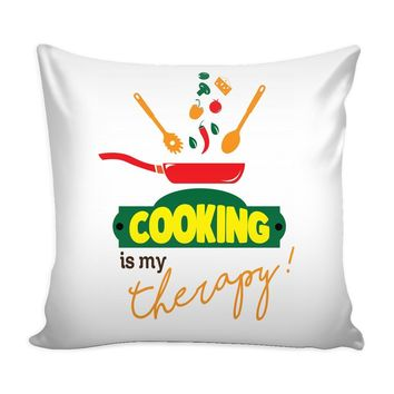 Funny Chef Cook Graphic Pillow Cover Cooking Is My Therapy