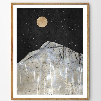 Quest - Mountain Art, Nature Art, Moon and Stars, Moon Art, Mixed Media Collage Art, Giclee Print