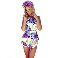 Moxeay Women Crew Collar Floral Printing Irregular Playsuit Jumpsuit Short Pants Purple (M)