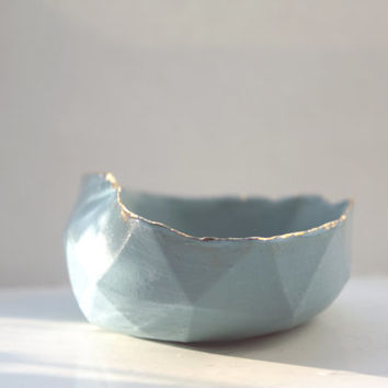 Geometric faceted polyhedron blue bowl made from stoneware Parian porcelain with real gold finish -  geometric decor