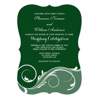 Dark Green Floral Swirl Bracket Wedding Invites
