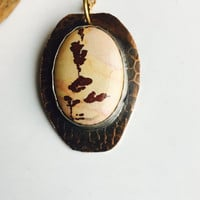 Owyhee Mountain Jasper Pendant Necklace, Dendritic Jasper, Vintage Inspired, Owyhee Mountain Jasper Cabochon, Metalwork Necklace
